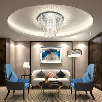 现代会客厅, 吊灯, 多人沙发, 壁画, 落地灯, 置物架, 茶几, 边几, 台灯, 现代