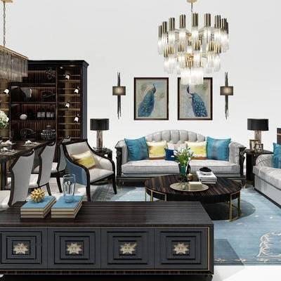 沙发, 茶几, 吊灯, 台灯, 花瓶, 酒杯, 碟子, 柜子, 椅子, 欧式