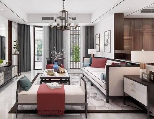 新中式, 客厅, 沙发, 茶几, 吊灯, 摆件, 电视柜, 餐厅, 餐桌, 椅子