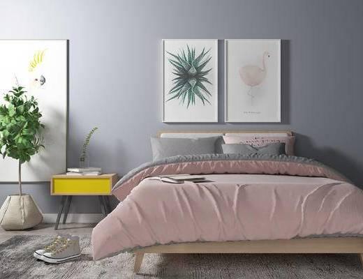 床具组合, 双人床, 壁画, 边几, 盆栽, 北欧