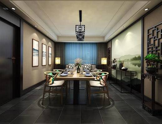 中式餐厅, 壁画, 吊灯, 多人沙发, 桌子, 椅子, 边几, 落地灯, 花瓶, 中式