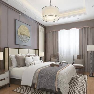 卧室, 吊灯, 双人床, 台灯, 床头柜, 椅子, 落地灯, 地毯, 中式