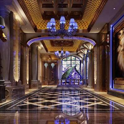 走廊过道, 吊灯, 壁画, 现代