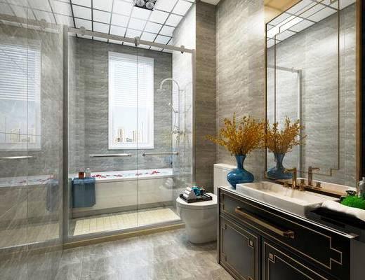 新古典, 卫生间, 浴室, 浴缸