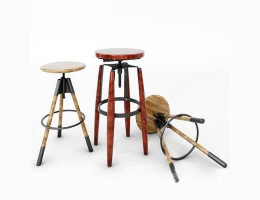 美式简约, 吧椅, 美式椅子, 木椅, 单人椅, 下得乐3888套模型合辑
