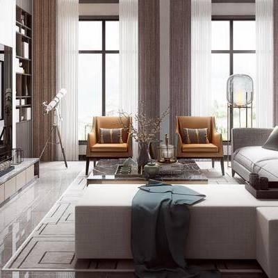客厅, 电视柜, 多人沙发, 椅子, 茶几, 落地灯, 壁画, 置物柜, 花瓶, 地毯, 现代