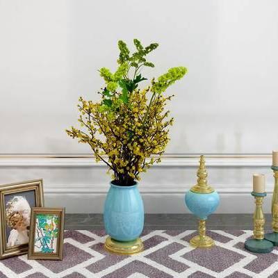 摆件组合, 花瓶, 相框, 简欧