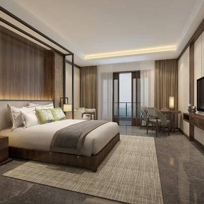 现代卧室, 双人床, 床头柜, 壁灯, 桌子, 椅子, 多人沙发, 台灯, 地毯, 现代