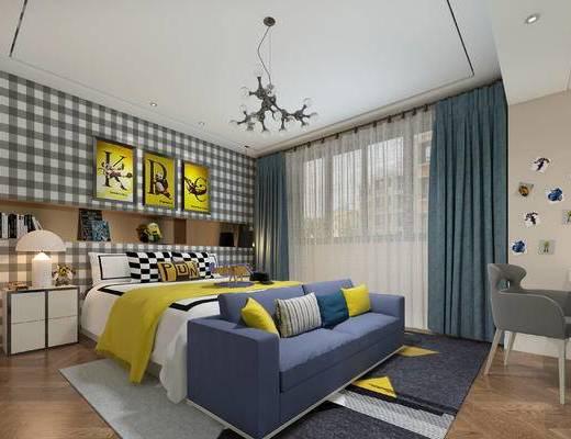 北欧卧室, 双人床, 多人沙发, 床头柜, 壁画, 吊灯, 椅子, 台灯, 北欧
