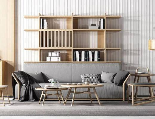 新中式, 沙发茶几组合, 置物架, 茶具组合, 下得乐3888套模型合辑