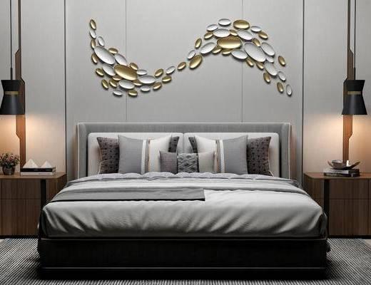 双人床, 吊灯, 床头柜, 现代