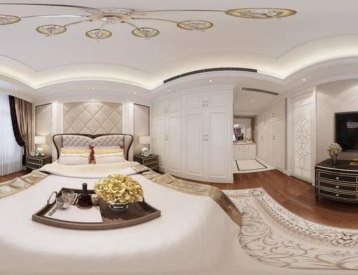 美式卧室, 双人床, 床头柜, 台灯, 电视柜, 美式