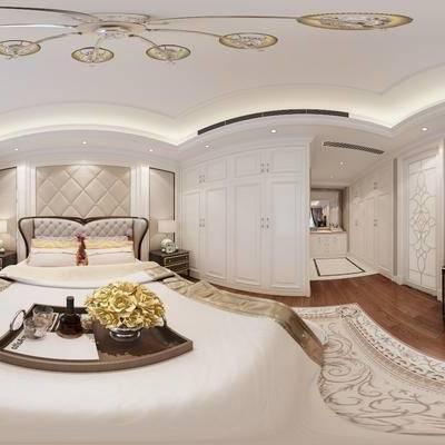美式卧室, 双人床, 床头柜, 台灯, 衣柜, 边柜, 吊灯, 地毯, 美式