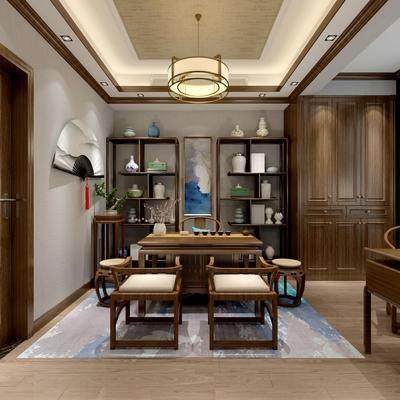 茶室, 桌子, 椅子, 置物柜, 边几, 置物架, 中式