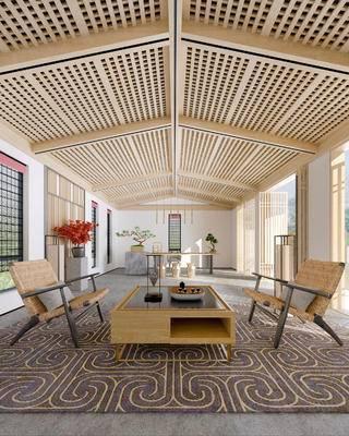 新中式茶室, 椅子, 茶几, 边几, 桌子, 凳子, 花瓶, 盆栽, 新中式
