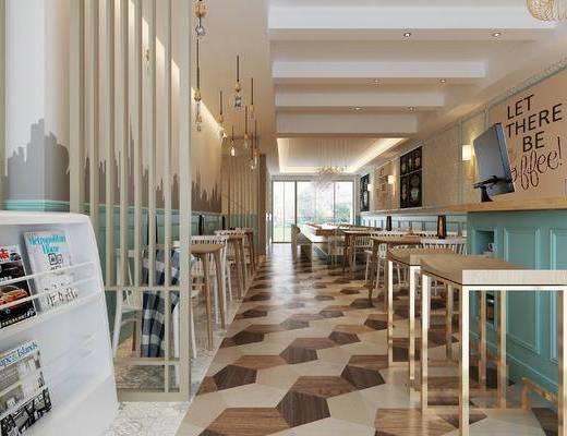 美式, 咖啡厅, 餐桌, 椅子, 吊灯, 挂画, 书籍, 书架, 1000套空间酷赠送模型