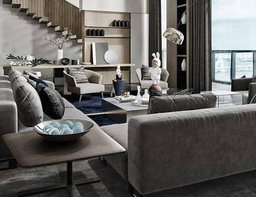 现代别墅客厅, 客厅, 沙发组合