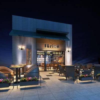 现代咖啡厅, 壁灯, 桌子, 椅子, 现代