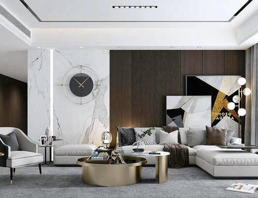 沙发组合, 茶几, 摆件组合, 墙饰, 落地灯, 单椅