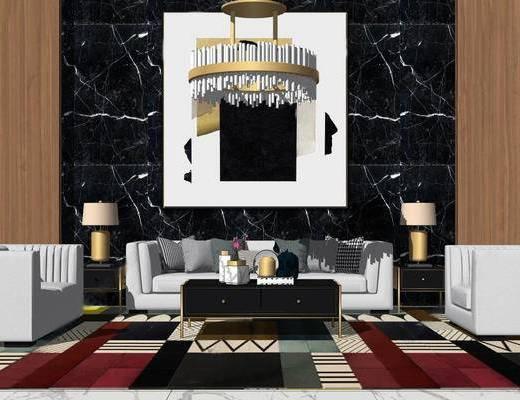 沙发组合, 吊灯, 茶几, 边几, 台灯, 现代, 现代沙发