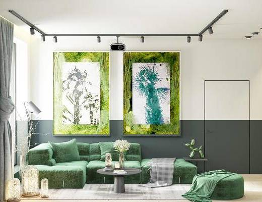 沙发组合, 壁画, 多人沙发, 茶几, 落地灯, 美式