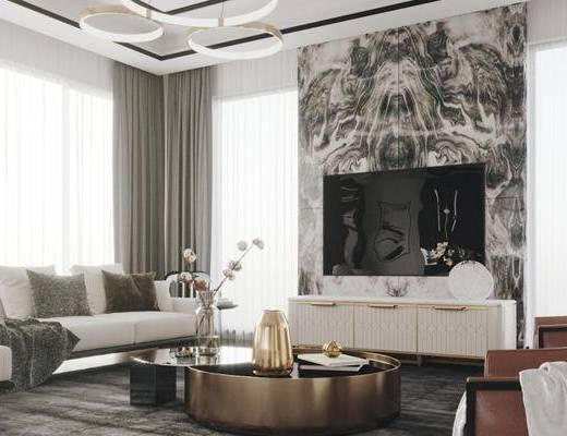 客厅, 沙发组合, 茶几组合, 电视柜, 吊灯, 背景墙