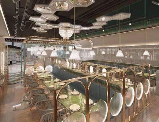 桌椅组合, 吊灯, 卡座