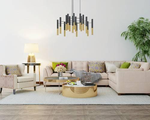 现代, 沙发, 茶几, 盆栽, 吊灯, 台灯, 花瓶, 摆件