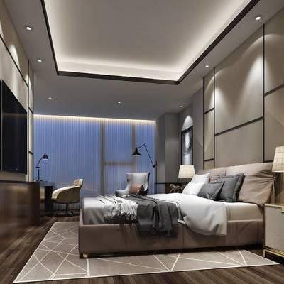 现代卧室, 双人床, 床头柜, 台灯, 落地灯, 壁画, 桌子, 椅子, 地毯, 现代