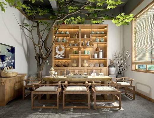 茶室, 吊灯, 桌子, 椅子, 壁画, 置物柜, 边柜, 花瓶, 中式