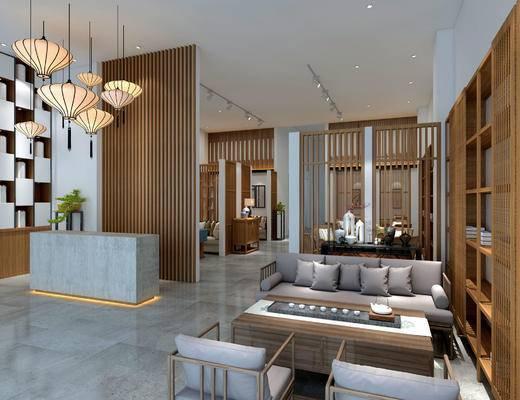 新中式餐厅, 大厅, 吊灯, 多人沙发, 茶几, 置物柜, 边柜, 桌子, 壁画, 新中式