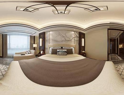 新中式卧室, 双人床, 壁画, 床头柜, 贵妃椅, 落地灯, 柜子, 盆栽, 花瓶, 吊灯, 壁灯, 地毯, 新中式