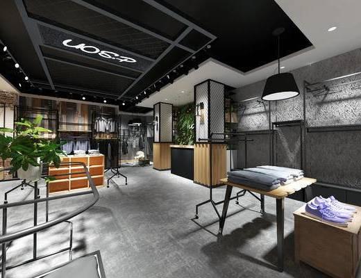现代服装店, 现代男装店, 工业风服装店, 服装店, 吊灯, 衣架, 衣服, 盆栽