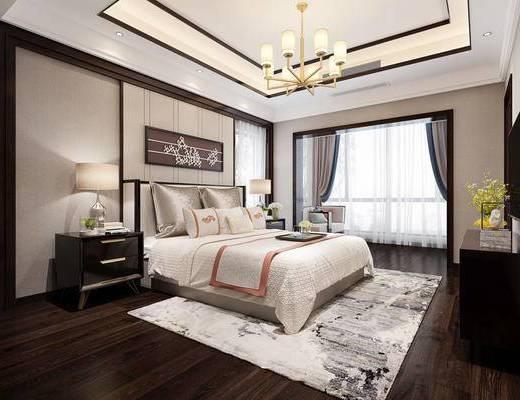 卧室, 双人床, 吊灯, 台灯, 柜子, 新中式