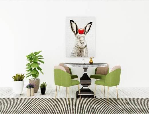 桌椅组合, 桌子, 椅子, 壁画, 盆栽, 现代