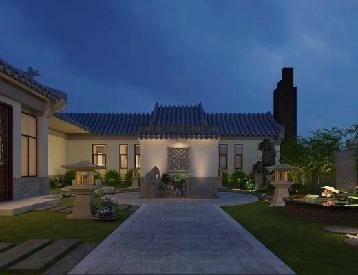 中式, 新中式, 庭院, 古建, 花园, 植物