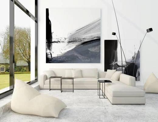 北欧, 沙发, 茶几, 落地灯, 挂画