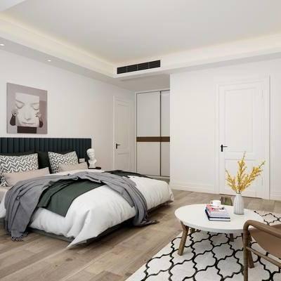 北欧, 卧室, 床, 吊灯, 沙发, 茶几, 床头柜, 挂画