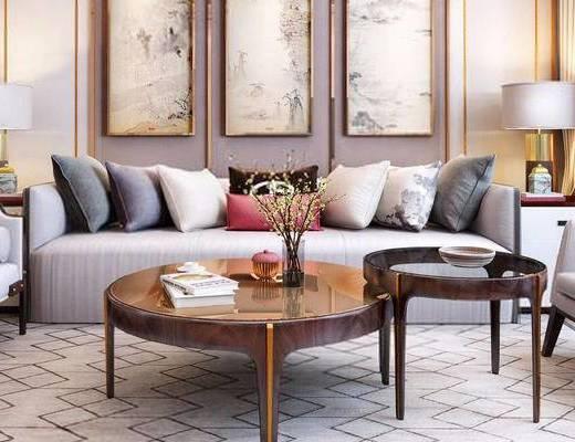 新中式, 客餐厅, 沙发茶几组合, 装饰画, 摆件