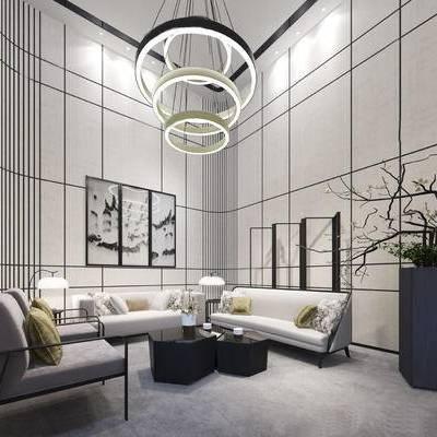 会客厅, 吊灯, 壁画, 多人沙发, 盆栽, 茶几, 台灯, 屏风, 新中式