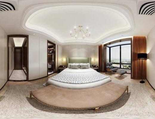 现代卧室, 双人床, 吊灯, 沙发尾塌, 床头柜, 单人沙发躺椅, 花瓶, 落地灯, 柜子, 地毯, 现代