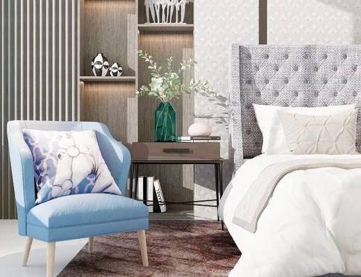 双人床, 椅子, 置物柜, 边柜, 现代