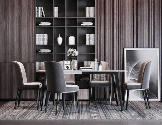 桌椅组合, 餐桌, 装饰柜, 装饰画, 餐具组合
