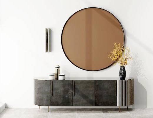 摆件组合, 装饰柜, 镜子, 花瓶, 现代
