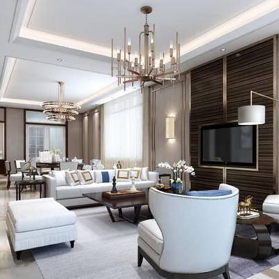 新中式客厅, 多人沙发, 椅子, 茶几, 落地灯, 吊灯, 桌子, 壁灯, 沙发凳, 花瓶, 新中式
