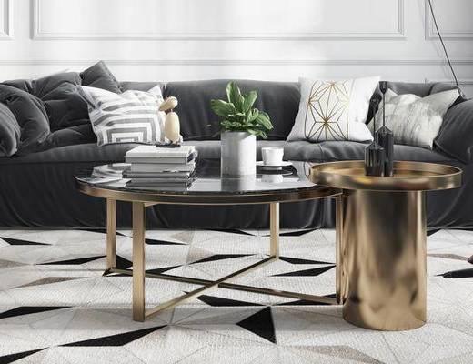 沙发组合, 多人沙发, 茶几, 边几, 沙发凳, 现代