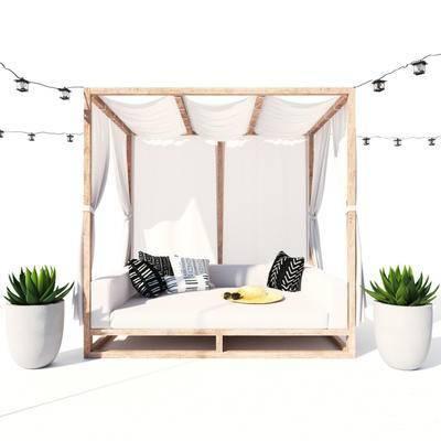 盆栽, 户外床, 植物, 现代
