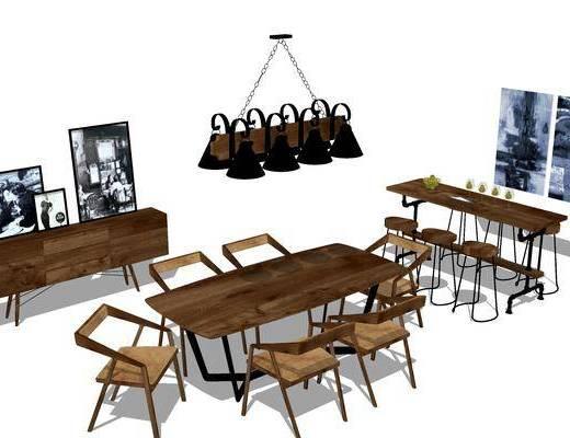 桌椅组合, 桌子, 椅子, 吧台, 吧椅, 吊灯, 边柜, 壁画, 现代