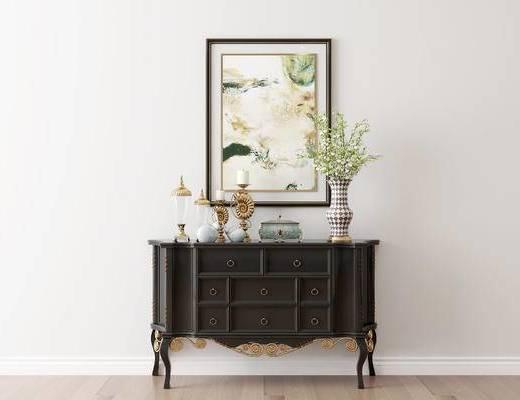 摆件组合, 装饰柜, 装饰画, 花瓶, 欧式