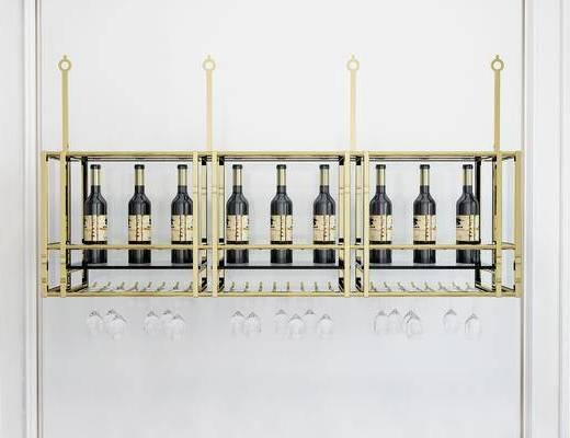 摆件组合, 置物架, 酒瓶, 简欧